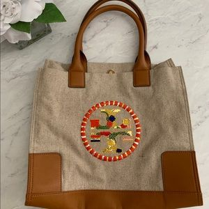 Tory Birch Canvas Tote Bag in EUC w/ dust bag